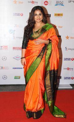Vidya Balan is the best saree trend setter for plus size body types, style inspiration for plus size women. See top 40 Vidya Balan Saree Styles Indian Beauty Saree, Indian Sarees, Silk Sarees, Saris, Jamdani Saree, Lehenga Choli, Bollywood Saree, Bollywood Fashion, Bollywood Actress