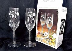 """8"""" Fine Stemware Toasting Flutes Glasses Crystal Clear Expressions 6oz Cup JAPAN #Expressions"""