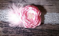 Pink Layered Singed Flower with Pearl Cluster and Light Pink Feather Puff Lace Headband / Pink Headband / Lace Headband / Baby headband Bows