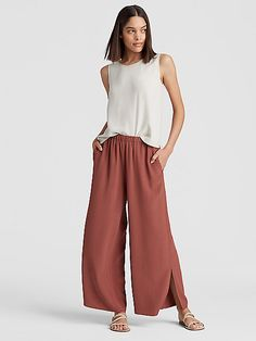 Leggings Pants and Jumpsuits for Women Eileen Fisher, Loose Pants Outfit, Orange Pants Outfit, Loose Fit Jeans, Wide Leg Linen Pants, Fashion Pants, Women's Fashion, Fashion Tips, Fashion Trends