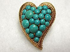R Mandle Heart Pin Modernist Faux Turquoise by COBAYLEY on Etsy, $30.00