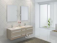 Meuble de salle de bain en bois avec double vasques coloris Pin Réf: CS112-P   Interouge Home Hotel Room Design, Double Vanity, Bathroom, Pin, Great Pictures, Bathing, Closet, Washroom, Hotel Bedroom Design