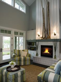 Inspiration for the 13ft ceilings in my living room.  Above the entertainment center?  Above the fireplace?