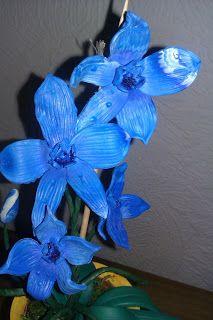 Blaue Orchideen aus Fimo