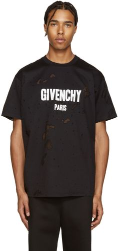 Givenchy: Black Destroyed T-Shirt | SSENSE