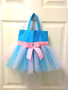 Blue and Pink Tutu Tote Bag - Cotton Candy Tutu Bag - Dance Bag - Tutu Ballet Bag on Etsy, $28.00
