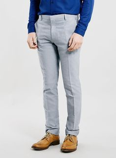 BLUE OXFORD SKINNY FIT TROUSERS