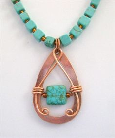 Create a strikingly beautiful pendant piece with this Copper Teardrop Necklace tutorial. Copper and turquoise has been paired in stunning jewelry for centuries, and this DIY necklace is no exception with its magnificent combination of these two hues.
