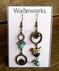 Asymmetrical Boho Earrings Robbin's Egg by Wadeworks on Etsy, $22.00