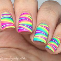 Browse & see more Water marble nail art designs 2016 Rainbow Nails, Neon Nails, Diy Nails, Summer Nails Neon, Pretty Nails For Summer, Neon Nail Polish, Tribal Nails, Neon Rainbow, Nail Polishes
