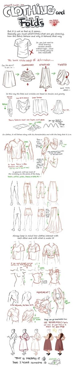 Illustration showing how to draw fabric folds and drape. Drawing folds and wrinkles in fabric is hard - this image shows how to do it right.