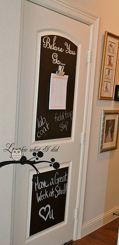 such a great idea, chalkboard vinyl bought at Joann's...9.99 with a 50% off coupon