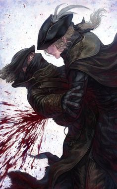 "Lady Maria: ""Only an honest death will cure you now."" Hunter: ""What!!!"" *Parry attack* Lady Maria: ""Liberate you from your wild curiosity."""