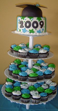 Graduation 2009- Cupcake/Cake Tower by It's All About the Cake, via Flickr