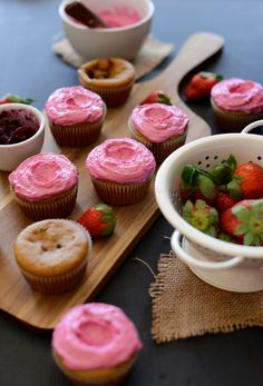 Strawberry Beet Cupcakes from Minimalist Baker. Packed with fresh strawberries and beet purée for some added flavor, color and nutritional value, these beautiful, moist vegan cupcakes are easy to make and even easier to eat!