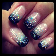 Shellac nails by Natalie black glitter