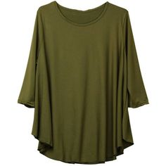 Plus Size Women Solid Batwing Sleeve Ruffles O Neck Blouse ($11) ❤ liked on Polyvore featuring tops, blouses, newchic, shirts, green blouse, bat sleeve shirt, flutter sleeve top, plus size shirts and plus size blouses