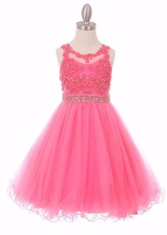 Bubble Pink Coiled Lace Mesh Girls Dress Wedding Pageant Christmas Party 5013