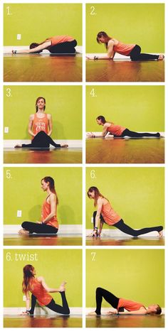 Leg Stretches | Yin Yoga Sequence | 1. Childs Pose  2. Frog Pose  3. Shoelace Pose  4. Swan Pose  5. Firelog Pose  6. Dragon Pose, Dragon Pose with Twist  7. Supported Bridge Pose