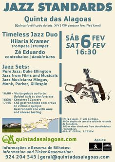 Timeless Jazz standards at Quinta das Alagoas. http://www.mydestination.com/algarve/events/73673953/jazz-standards-concert-at-quinta-das-alagoas-6-february-2016