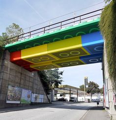 Railway bridge in Wuppertal, Germany was painted to look like it was made out of colorful LEGO bricks.