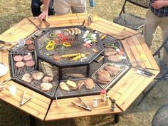 needs to be the new fire pit/ bbq and picnic table Fire Pit Grill, Bbq Grill, Pit Bbq, Fire Pits, Bonfire Grill, Hibachi Grill, Campfire Grill, Wood Grill, Barbecue Smoker