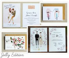 One Fab Day: First up we have a stationery brand and design studio based in Cambridge, England that goes by the name of Jolly Edition.  They focus on creating bespoke designs and illustrated paper goods and we just love their custom illustrated wedding invitations and sweet prints.