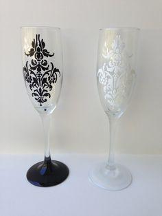 Damask Inspired Wedding Flutes on Etsy, $26.00