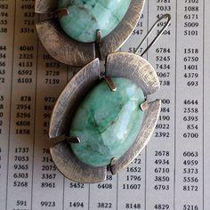 Chrysocolla  Brass Medieval Cross Earrings, Blue Green Stone Modern Contemporary Urban Old World Metalsmith Bold Artisan Statement Earrings...