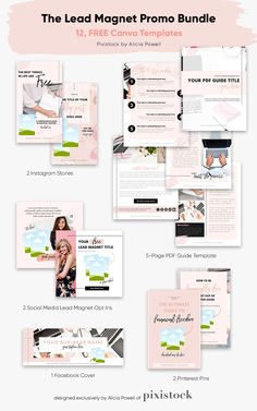 Want to grow or start your email list? You're going to need a lead magnet, and before you even start, a good Canva template to design it with. Snag this set of 12 FREE Canva Templates today, including Instagram Story templates, Pinterest pin templates, an eBook/workbook template, Instagram feed post templates and even a Facebook Group cover template. #ad Marketing, Free Instagram, Instagram Feed, Facebook Cover Template, Lead Magnet, Instagram Story Template, Social Media Template, Make Money Blogging, Pinterest Pin