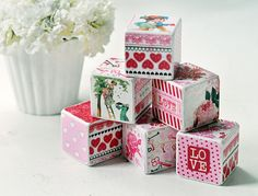 Decorative wooden blocks vintage valentine by birdsANDblossomsGift   a perfect gift for your favorite valentine