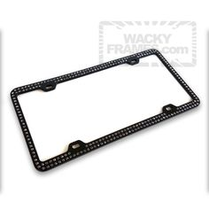 Car Bling Bedazzled License Plate Frames 2Pack Handcrafted Luxury Rhinestone Cute Cover for Women Men Premium Gift Box Glass Diamond Tag Anti-Theft Cap Black