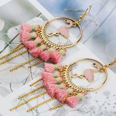 Women's Handmade Pink Flamingo Tassel Earrings #flamingos #pinkflamingos #flamingoearrings #flamingojewelry #jewelry #fashionjewelry