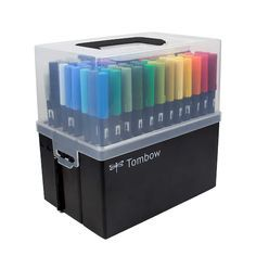 Tombow Marker Case The new Tombow Marker Case will store and organize your favorite Tombow products. 108 slots allow more room for you to carry all your Tombow Dual Brush pens as well as other Tombow writing instruments. The easy to use accordion style ba Tombow Dual Brush Pen, Brush Pen Art, Marker Kunst, Marker Art, Tombow Markers, Brush Markers, Pen Storage, Plastic Storage, Cute School Supplies