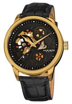 http://www.edivewatches.com/product/akribos-xxiv-black-dial-watch/ Akribos XXIV Black Dial Black Leather Watch $109.99