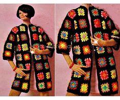 Crochet Pattern Vintage 70s Granny Squares Coat Jacket CROCHET CARDIGAN PATTERN Crochet sweater pattern