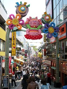 Takeshita Dori, a pedestrian alley in the Harajuku district with shops selling to the fashionable teenager crowd