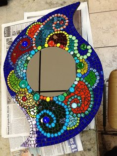Student work Mirror Mosaic, Mosaic Diy, Mosaic Crafts, Mosaic Glass, Glass Art, Sea Glass, Mosaic Wall, Mosaic Furniture, Mosaic Art Projects