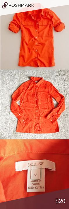 J. Crew Fine Cotton Desert Shirt Lightweight cotton, perfect for warmer temps! Beautiful, bright orange color. Has chest pockets on a classic button-down. Long roll-up sleeves. Functional buttons at cuffs. Excellent condition! Just a little wrinkly. J. Crew Tops Button Down Shirts