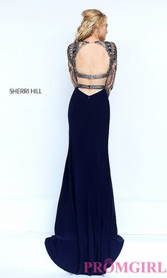Image of two-piece long sleeve beaded top floor-length dress Style: SH-50097 Back Image