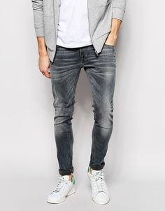 $207, Grey Jeans: Nudie Jeans Super Skinny Lin Stretch Fit Back To Gray. Sold by Asos. Click for more info: https://lookastic.com/men/shop_items/303124/redirect