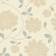 The Wallpaper Company 56 sq. ft. Beige and Grey Large Scaled Modern Floral Trail Wallpaper - WC1281988 at The Home Depot