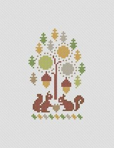 Squirrel Love. PDF Cross Stitch Pattern. $4.00, via Etsy.