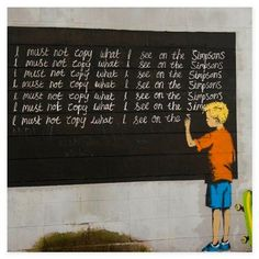 ACHICA | BANKSY - I Must Not Copy What I See On The Simpsons, Canvas Wall Art, 100 x 80 cm