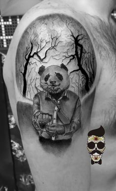 Panda tattoo - tree tattoo