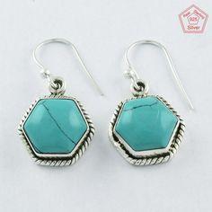 Christmas Bonanza 925 Sterling Silver Turquoise Stone Earrings E4081 #SilvexImagesIndiaPvtLtd #DropDangle
