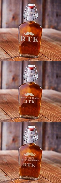 Personalized Vintage Mustache Design Glass Swing-Top Flask (3 Designs)