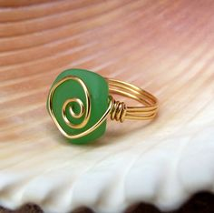 Spring Green Seaglass Ring:  24K Gold Swirl by SherryKayDesigns