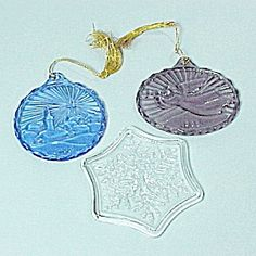 Pair 1985 Avon Fostoria Glass Christmas Tree Ornaments. Cobalt Blue Star in sky, Purple Amethyst Angel with Trumpet.plus a clear Star.