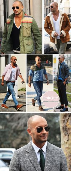 UGHHHHH Bald With Beard, Bald Man, Mens Hottest Fashion, Milan Vukmirovic, Bald Men Style, Hair Today Gone Tomorrow, Couple Photography Poses, Weekend Outfit, Modern Outfits